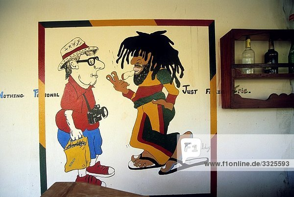 cartoon on the wall in a bar Mayreau Grenadines islands Saint Vincent and the Grenadines Winward Islands Lesser Antilles Caribbean Sea
