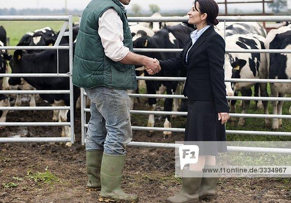 Geschäftsfrau beim Händeschütteln mit dem Bauern