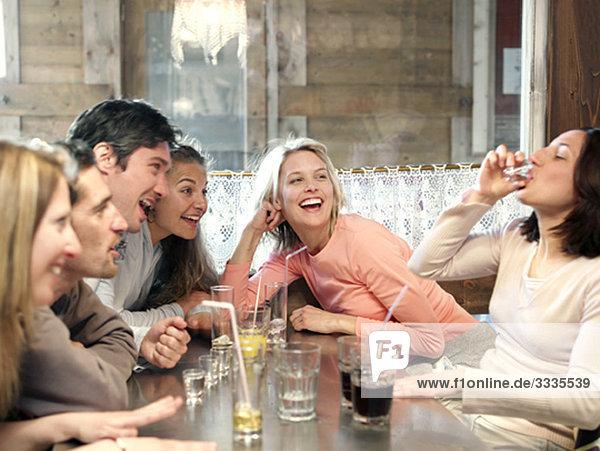 Freunde trinken in der Skihütte Bar