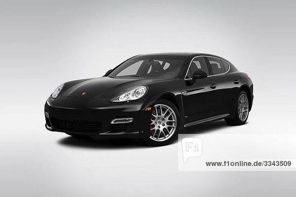 2010 Porsche Panamera Turbo in schwarz - Winkel Vorderansicht