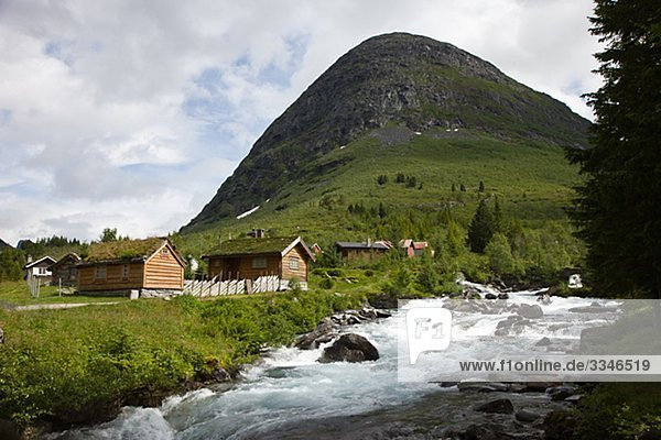 Houses by a stream  Norway.