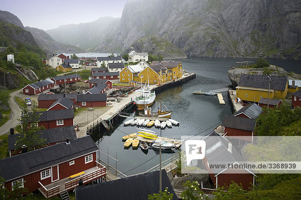10868334  Norway  Scandinavia  the north  northern Norway  Lofoten  islands  isles  Nusfjord  houses  homes  harbour  port  mountains  travel  holidays  vacation  tourism