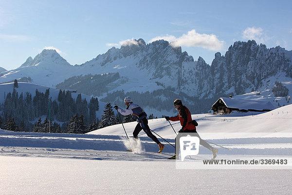 10870425  Switzerland  winter sports  cross-country skiing  cross-country  skiing  persons  two  winter  sport  snow  mountains  canton Bern