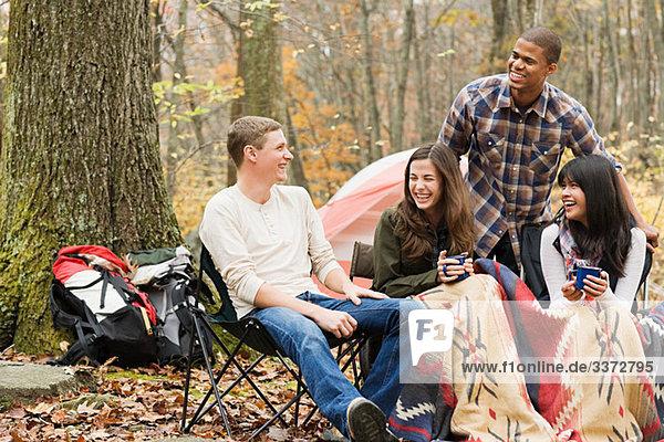 Friends at campsite