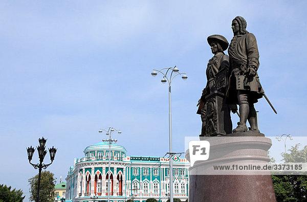 Statue der Gründer von Jekaterinburg