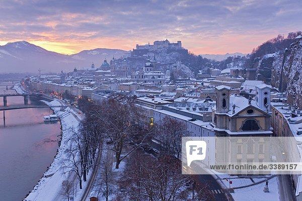 View of Salzburg at dawn  Austria  elevated view