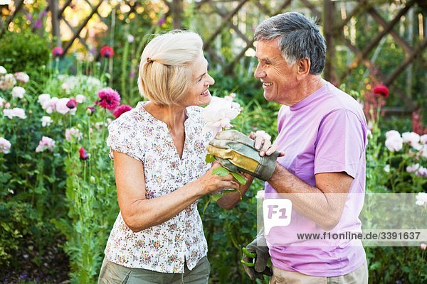 mature woman is offered a rose.