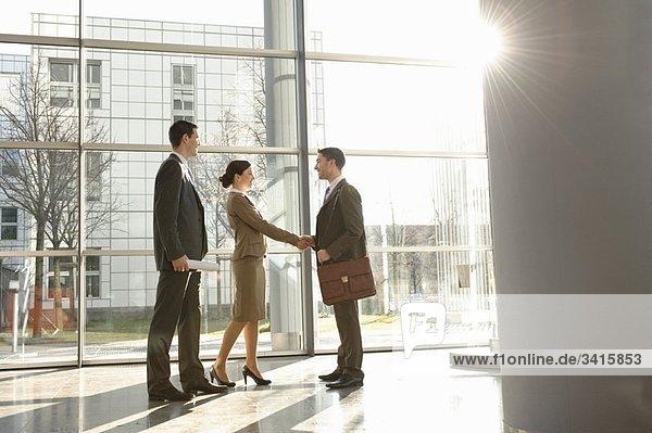 Geschäftsfrau beim Händeschütteln mit Mann