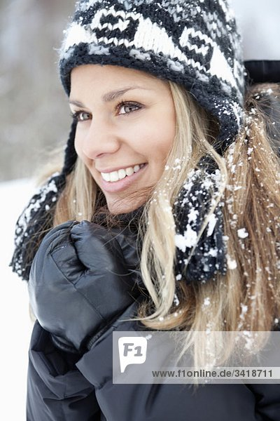 Woman with snow in her hair