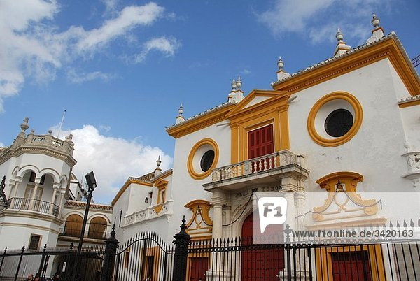 "Partial view of La Maestranza bullring  the so-called ""Temple of Bullfighting . Eighteenth Century. El Arenal quarter. Seville  Andalucia  Spain  Europe"