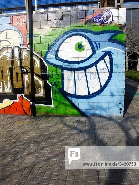 Graffiti in Paralel Avenue in Barcelona Spain