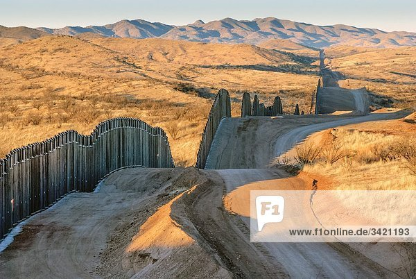United States border fence  US/Mexico border  Nogales  Arizona USA