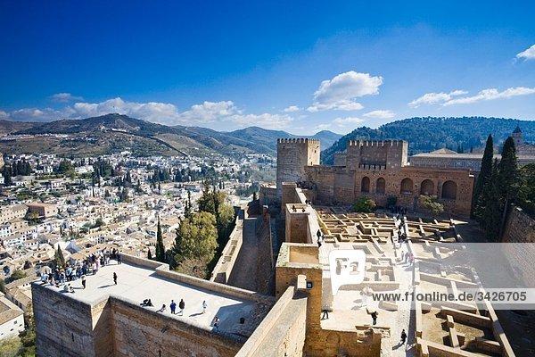 Spain  Granada  View over Alhambra