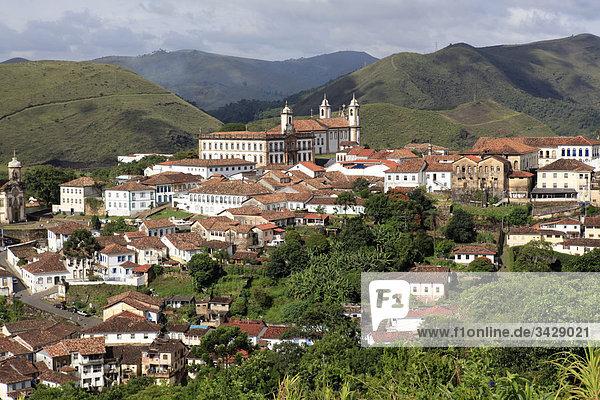 Blick auf Ouro Preto  Minas Gerais  Brasilien  Erhöhte Ansicht