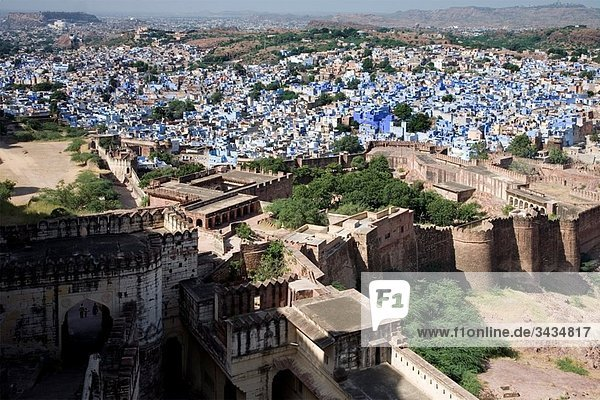 The city of Jodhpur often referred to as the ´Blue City´ taken from Fort Mehrangarh in Rajasthan India