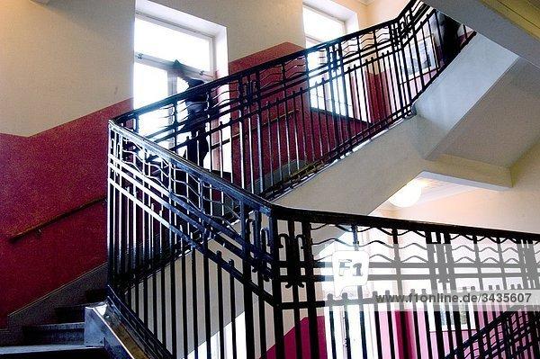 Treppen in einer Schule  Stockholm  Schweden