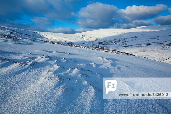 England  Northumberland  Northumberland National Park Snow on the Cheviot Hills near Comb Fell and the Breamish Valley