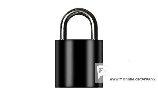 Schwarz Lock auf weißem Hintergrund