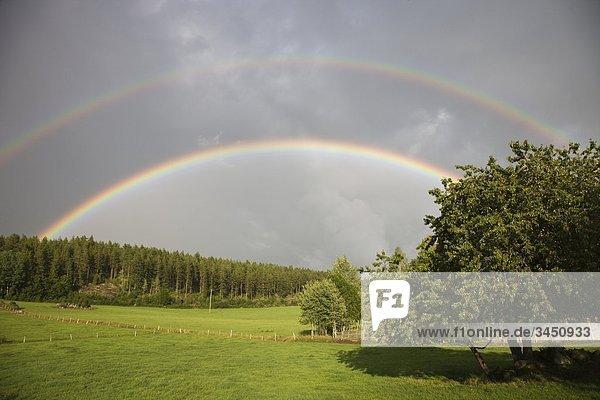 Ein double Regenbogen über Felder