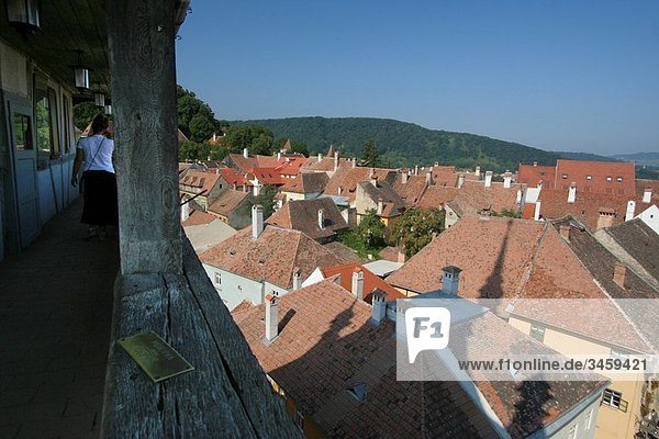 Rumania  Sighisoara  urban lanscape from the clock tower.