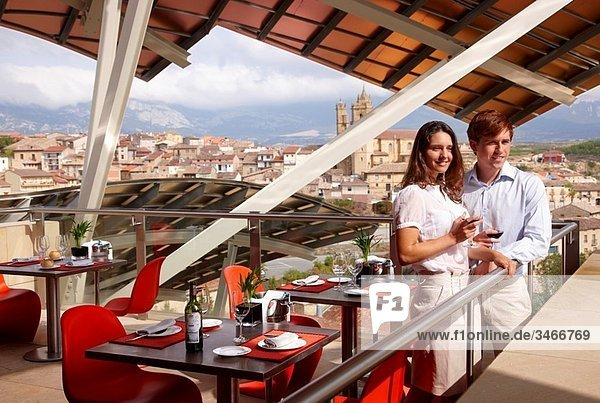 Restaurant  Hotel designed by Frank Gehry  Marques de Riscal winery  Elciego  Rioja Alavesa  Araba  Basque Country  Spain