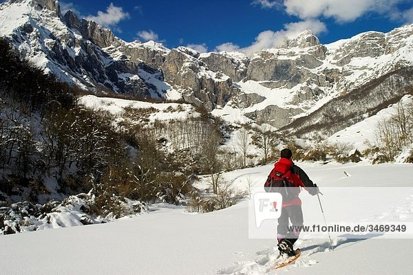 mountaineer walking with snowshoes in a snow-capped mountains landscape Picos de Europa National Park Cantabria Spain Europe