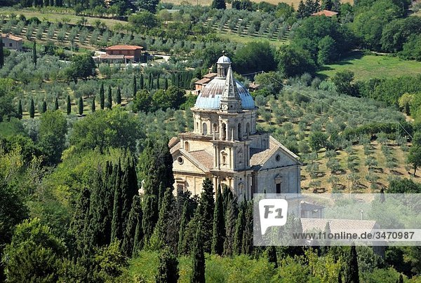 The 16thC Tempio di San Biagio High Renaissance church by Sangallo Seen from the walls of Montepulciano  Tuscany  Italy