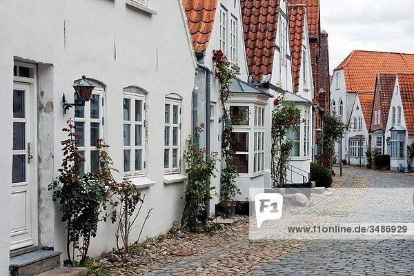 Historic houses  street in Tondern or Tonder  South Denmark
