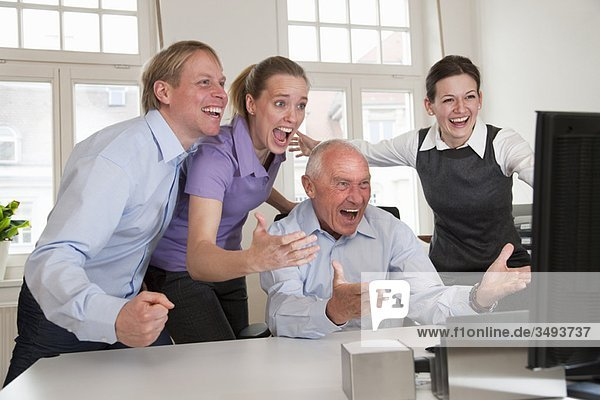 Businesspeople laughing