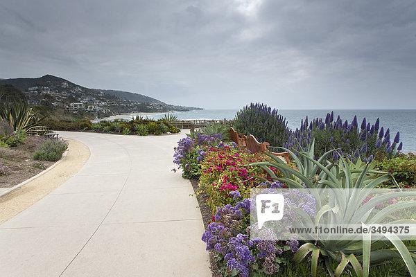 Blumen und Bänke an einem Weg  Kalifornien  USA  Erhöhte Ansicht