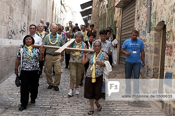 Israel  Jerusalem  Prozession Via Dolorosa