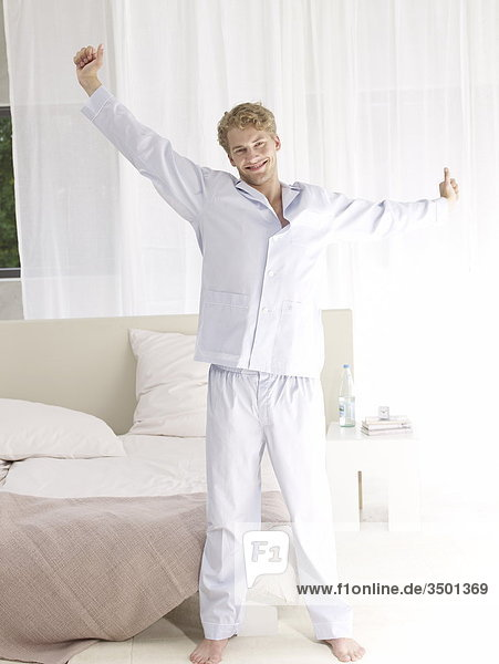 young man in bedroom