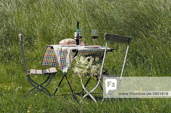Gedeckter Brotzeittisch auf Sommerwiese Gedeckter Brotzeittisch auf Sommerwiese