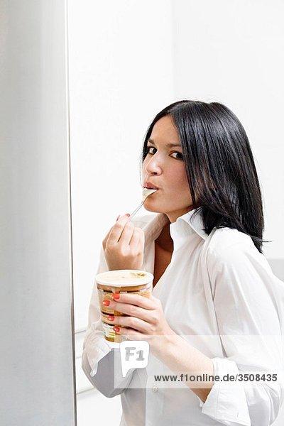 Woman caught eating icecream