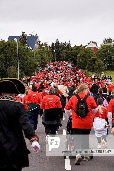 Runners at the 2008 Reykjavik marathon  Iceland