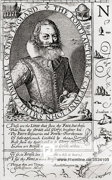 Captain John Smith c 1580 to 1631  from his 1614 map of New England Admiral of New England was an English soldier  explorer  and author From the book Short History of the English People by J R Green published London 1893