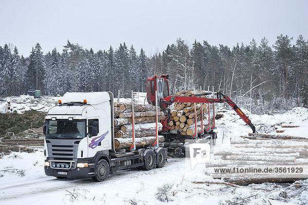 Holz Lastkraftwagen Ansicht Skandinavien Schweden Uppland