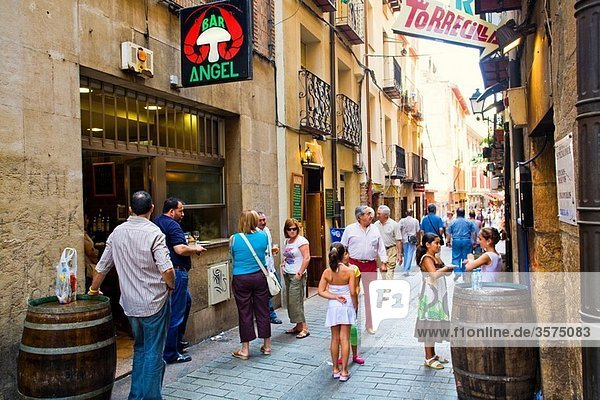 Street life in Calle Laurel street  Logroño  La Rioja  Spain