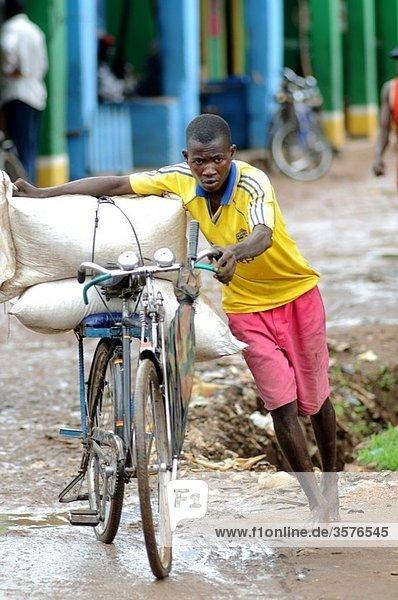 man with bicyle  salima malawi