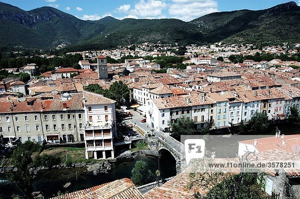 panoramic view of Quillan  pays cathare  france