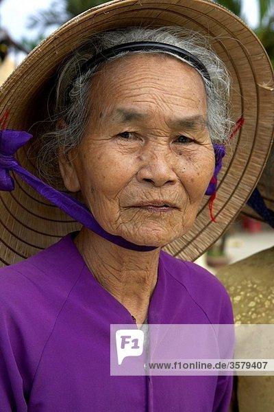 Portrait of Elderly Vietnamese Woman  Hoi An  Vietnam