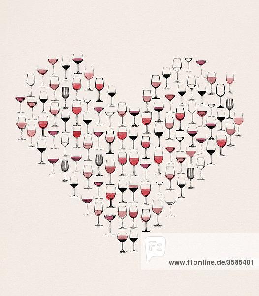 Weingläser formen ein Herz Weingläser formen ein Herz