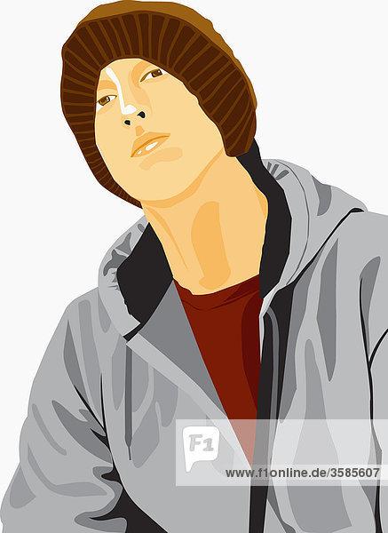 Junger Mann trägt eine Wollmütze