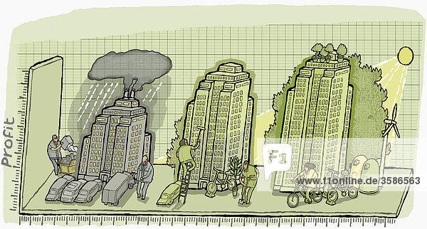 Gebäude auf einem Diagramm