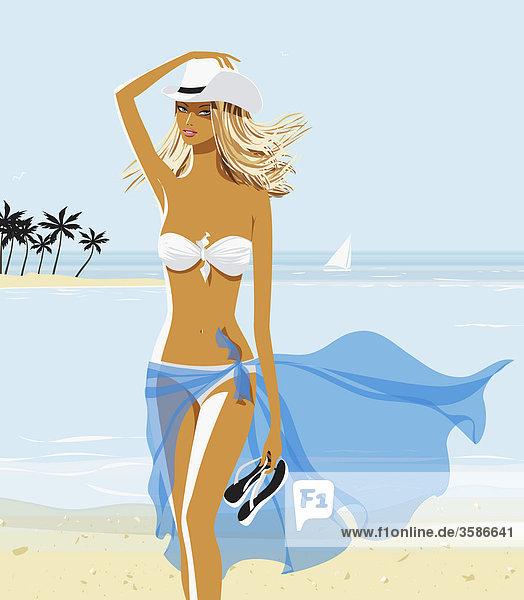 Sexy Frau in Bikini und Cowboyhut am Strand Sexy Frau in Bikini und Cowboyhut am Strand