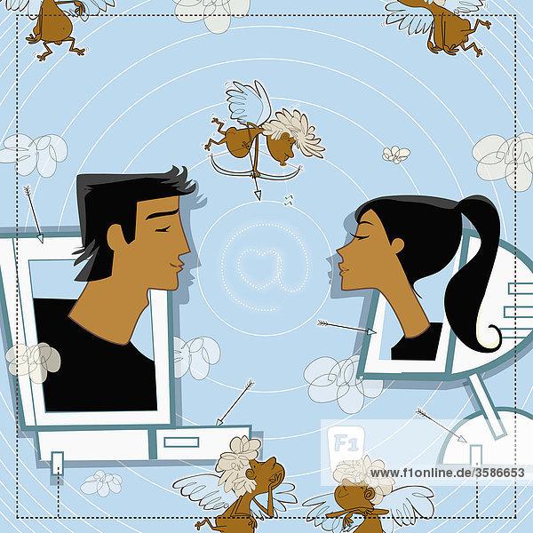 Mann und Frau auf Computerbildschirmen küssen sich