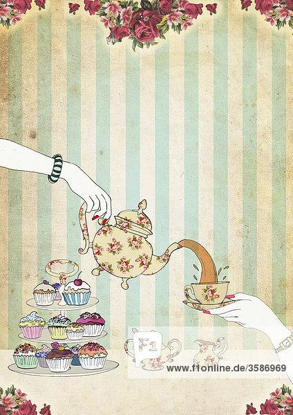 Tee wird eingeschenkt an einem Tisch mit Cupcakes