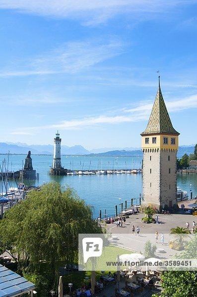 Hafen mit Mangenturm  Bodensee  Lindau  Bayern  Deutschland  Europa Hafen mit Mangenturm, Bodensee, Lindau, Bayern, Deutschland, Europa