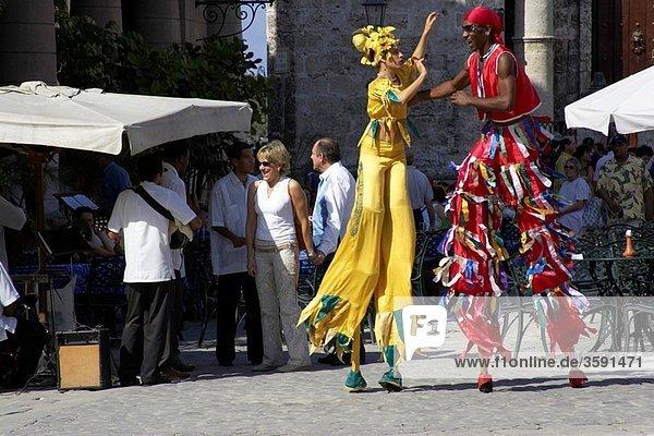Street Entertainers  Plaza de la Catedral  Old Havana  Cuba