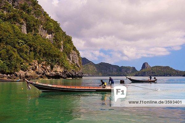 Ko Wua Talap  one of the islands in the Angthong National Marine Park 42 limestone islands near Koh Samui island  Gulf of Thailand  Thailand